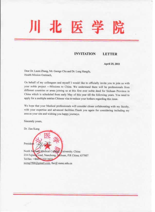 Health mission outreach our purpose invitation letter from china stopboris Images